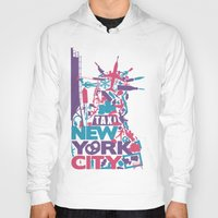 nyc Hoodies featuring NYC by ahutchabove