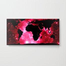 World Map : Red Hot Pink Galaxy Metal Print