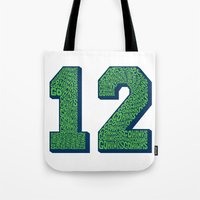 seahawks Tote Bags featuring Go Hawks 12 by Nuart Media Group