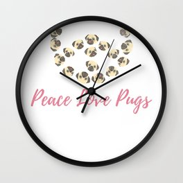 Peace Love Pugs Pet Owner Dog Lover Shirt Wall Clock
