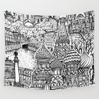 russia Wall Tapestries featuring To Russia, With Love by Candice Soon