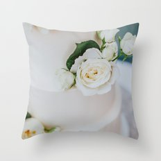 White Wedding Cake and Flowers Throw Pillow