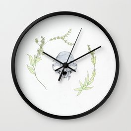 minimalist cat skull and vines Wall Clock