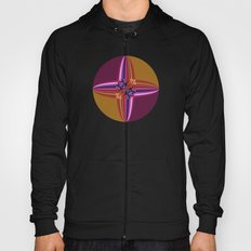Purplish-Red and Gold Colorblock Abstract Hoody