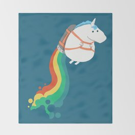 Fat Unicorn on Rainbow Jetpack Throw Blanket