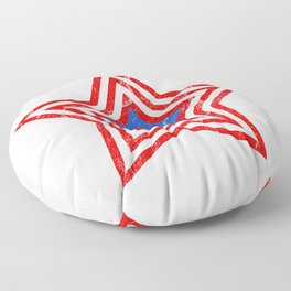 Patriotic Vintage Star Blue Center Red and White Stripes Floor Pillow