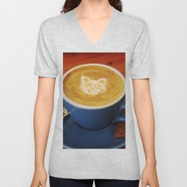 Coffee and Cats-A cat face in a coffee design Unisex V-Neck