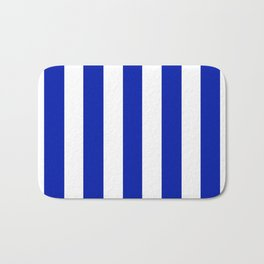 Blue (Pantone) - solid color - white vertical lines pattern Bath Mat