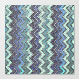 Shades Of Blue & Silver Chevron Pattern Canvas Print