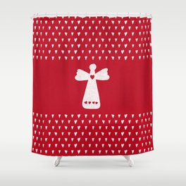 Christmas Angel with hearts on red Shower Curtain