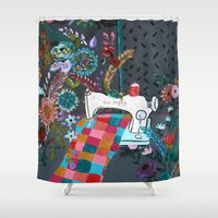 sewing Shower Curtains featuring Vintage Sewing Machine by Bari J.