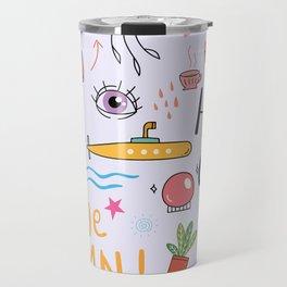 Doodle Tattoo Pop Art - unicorn, space, boho doodles Travel Mug