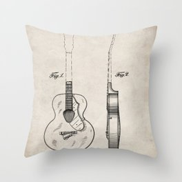 Accoustic Guitar Patent - Classical Guitar Art - Antique Throw Pillow