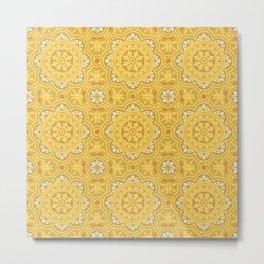 Yellow Heritage Vintage Oriental Moroccan Tiles Style Illustration  Metal Print
