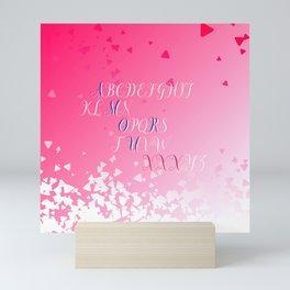 Amour Alphabet Love Rose Pink Glitter Design Mini Art Print