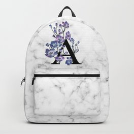 Letter 'A' Anemone Flower Typography Backpack