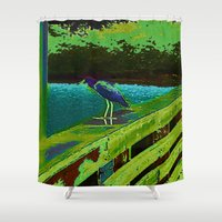 matisse Shower Curtains featuring Heron Matisse by Ellen Turner