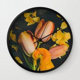 Spring Tulip Flowers Wall Clock