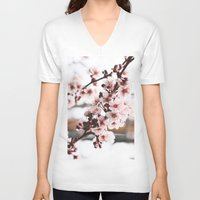 cherry blossoms V-neck T-shirts featuring Cherry Blossoms by paytonbdesigns