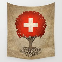 switzerland Wall Tapestries featuring Vintage Tree of Life with Flag of Switzerland by Jeff Bartels