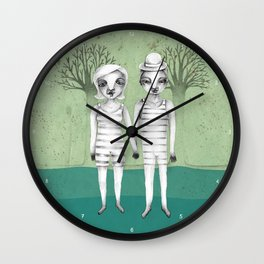 gymnast couple in the forest Wall Clock