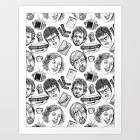 flight of the conchords Art Prints featuring Flight of the Conchords Pattern by Jillian Kaye