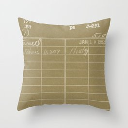 Library Card 797 Negative Brown Throw Pillow