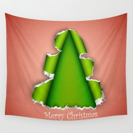 Christmas tree made of torn paper Wall Tapestry