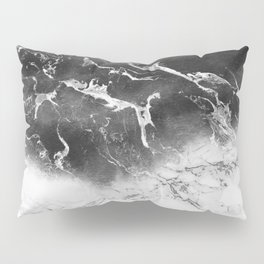Modern black and white marble ombre watercolor color block Pillow Sham