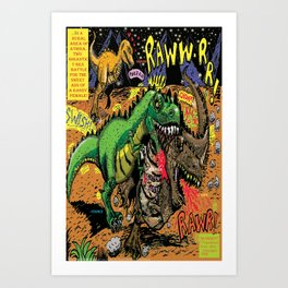 Space Chick & Nympho: Vampire Warrior Party Girl Comix #1- Tyrano the Dinosaur-God  in Comic Page  Art Print