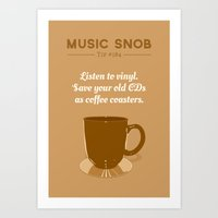 coasters Art Prints featuring Coffee Coasters — Music Snob Tip #184 by Elizabeth Owens