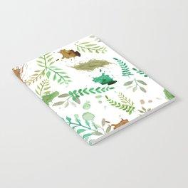 Green Leaves, Paint Splatter, Pattern Notebook