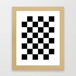 Large Checkered - White and Black Framed Art Print