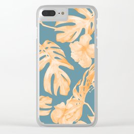 Island Hibiscus Palm Coral Teal Blue Clear iPhone Case
