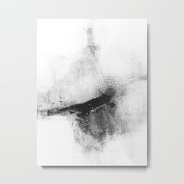 """Black and White Minimalist Abstract Painting """"Delve 5"""" Metal Print"""