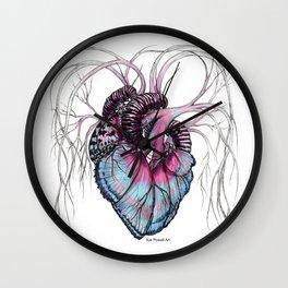 Butterfly Heart Blue Wall Clock