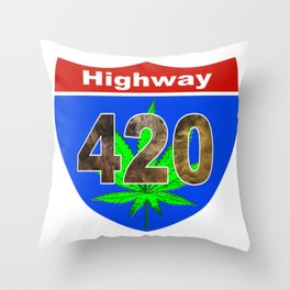Highway 420... Up in Smoke Throw Pillow