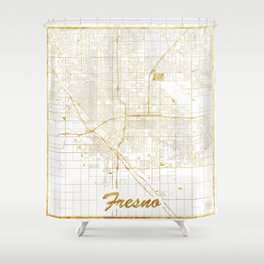 Fresno Map Gold Shower Curtain