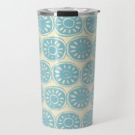 flower block blue ivory Travel Mug
