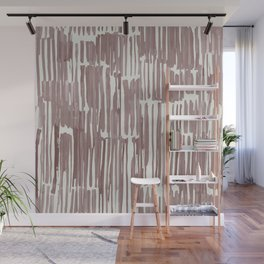 Simply Bamboo Brushstroke Red Earth on Lunar Gray Wall Mural