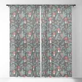 Cottagecore Yule Nature Pattern Black Sheer Curtain