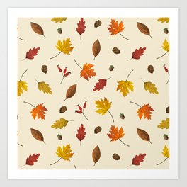 Autumn ivory gold brown fall leaves pattern Art Print