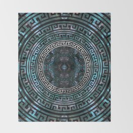 Circular Greek Meander Pattern - Greek Key Ornament Throw Blanket
