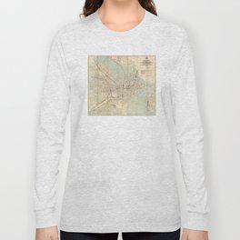 Vintage Downtown Boston Subway Map (1917) Long Sleeve T-shirt