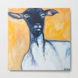 I sheep portrait hand painted acrylic on canvas Metal Print
