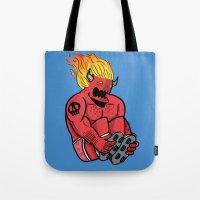 satan Tote Bags featuring Satan Rollin' by KODYMASON