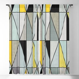 Colorful Concrete Triangles - Yellow, Blue, Grey Blackout Curtain