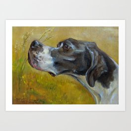 English Pointer Hunting Bird Dog portrait Oil painting Art Print