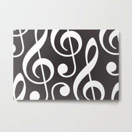 Clef music notes white grey Metal Print
