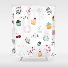 Cupcake Pastry Background - Colored 07 Shower Curtain